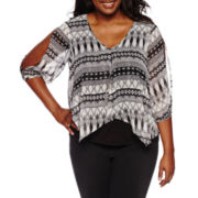by&by 3/4 Sleeve V Neck Crepe Blouse-Juniors Plus