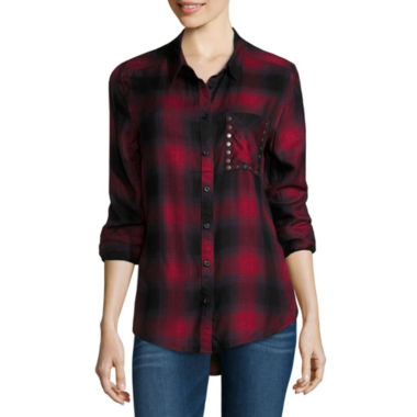 jcpenney.com | Arizona Long Sleeve Boyfriend Plaid Shirt with Studs- Juniors