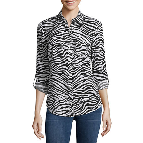 a.n.a Long Sleeve V Neck Rayon Blouse-Petites