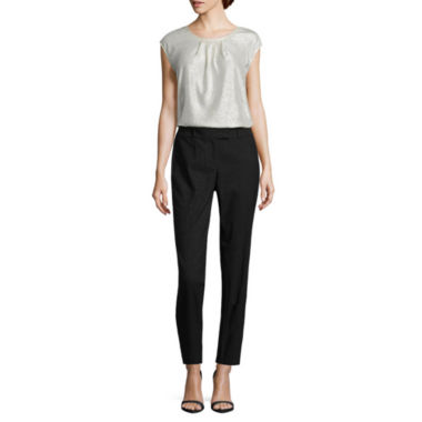 jcpenney.com | Liz Claiborne Short Sleeve Pleat Front Shine T-Shirt and Classic Emma Ankle Pants