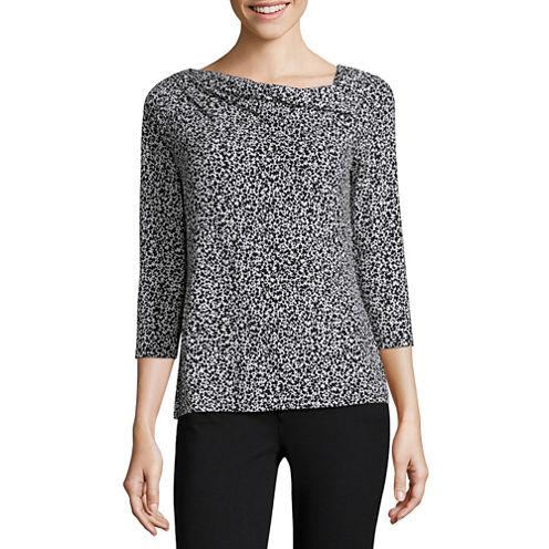 Liz Claiborne® 3/4-Sleeve Print Knit Blouse - Petite