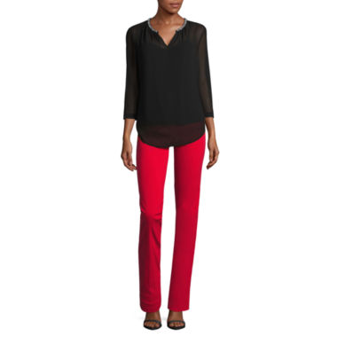 jcpenney.com | Liz Claiborne 3/4 Sleeve Embellished V-Neck Blouse and Pull-On Millenium Pant