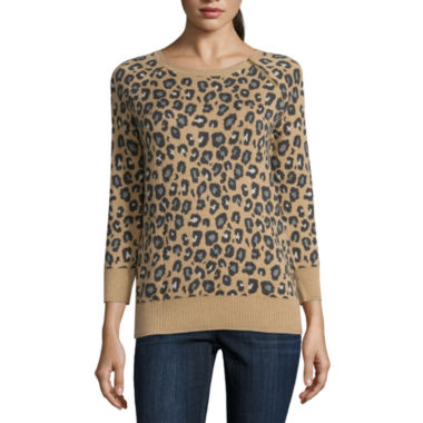 jcpenney.com | Liz Claiborne 3/4 Sleeve Crew Neck Pullover Sweater-Petites