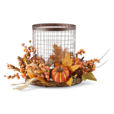jcpenney.com | JCPenney Home™ Harvest Iron Candle Holder with Wreath