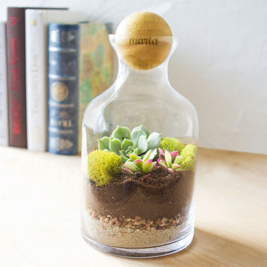 jcpenney.com | Cathy's Concepts Personalized 56 oz. Glass Terrarium with Wood Ball