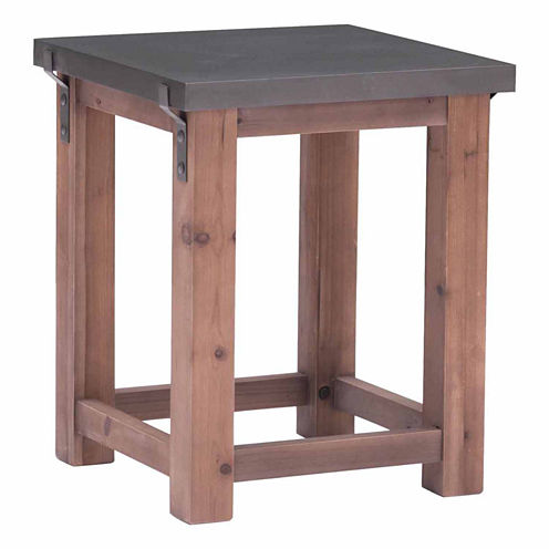 Zuo Modern Greenpoint Gray & Distressed Fir End Table