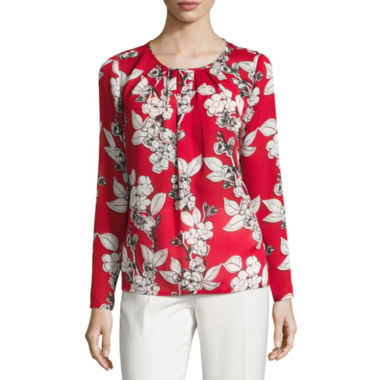 jcpenney.com | Liz Claiborne Long Sleeve Crew Neck Woven Blouse