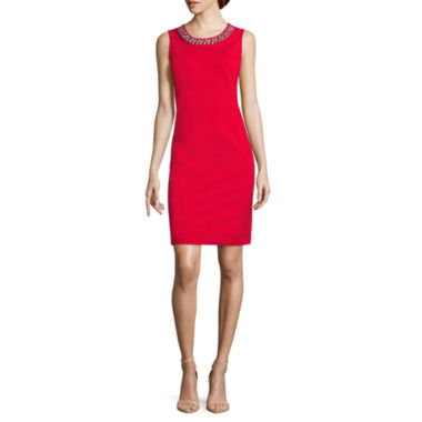 jcpenney.com | Liz Claiborne Sleeveless Beaded Embellished Sheath Dress-Talls