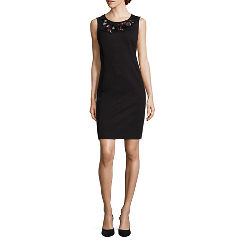 Liz Claiborne Sleeveless Beaded Embellished Sheath Dress-Talls