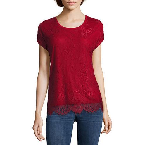 i jeans by Buffalo Short Sleeve Mix Media Lace Top