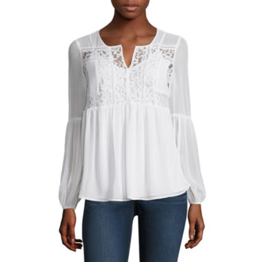 jcpenney.com | Stylus Long Sleeve Round Neck Woven Blouse-Petites