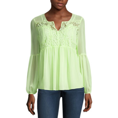jcpenney.com | Stylus Long Sleeve Y Neck Woven Blouse-Talls