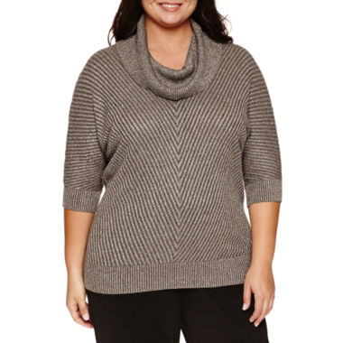 jcpenney.com | Alyx Short Sleeve Chevron Banded Cowl Neck Sweater-Plus