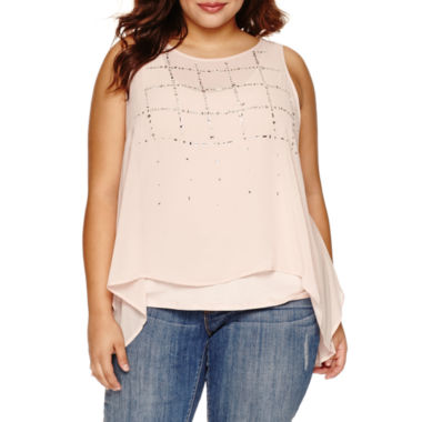 jcpenney.com | Boutique + Sleeveless Scoop Neck Woven Blouse-Plus