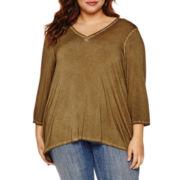 Boutique+ 3/4-Sleeve V-Neck T-Shirt - Plus