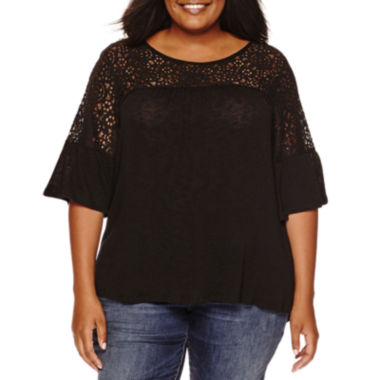 jcpenney.com | a.n.a Elbow Sleeve Round Neck Knit Blouse-Plus