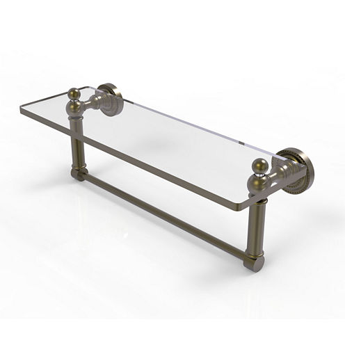 Allied Brass Dottingham 16 IN  Glass Vanity ShelfWith Integrated Towel Bar