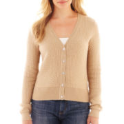 Liz Claiborne Long-Sleeve Basketweave Cardigan Sweater