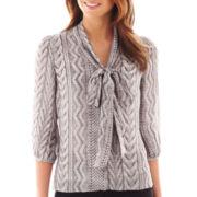 Worthington® 3/4-Sleeve Tie-Neck Blouse - Tall