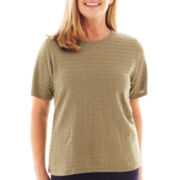 Alfred Dunner® Amsterdam Avenue Short-Sleeve Textured Sweater Shell