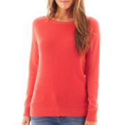 jcp™ Long-Sleeve Thermal Elbow-Patch Sweater - Tall
