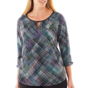 Worthington® 3/4-Sleeve Keyhole Top - Plus