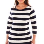 jcp™ 3/4-Sleeve Zip-Shoulder Boatneck Tee - Tall