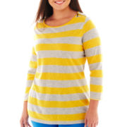 jcp™ 3/4-Sleeve Zip-Shoulder Boatneck Tee - Tall