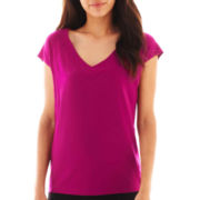 Worthington® Short-Sleeve Blocked Knit V-Neck Tee