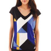 Worthington® Short-Sleeve Blocked Knit V-Neck Tee