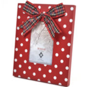 Holiday Polka Dot with Bow Picture Frame