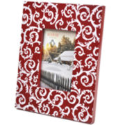White Scroll Holiday Picture Frame