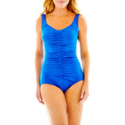 Azul by Maxine of Hollywood Shirred-Front Spa 1-Piece Swimsuit