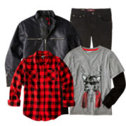 Arizona Long-Sleeve Tee, Flannel Shirt, Jeans or Moto Jacket - Boys