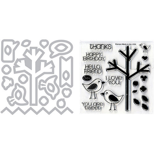 Sizzix® Framelits Die and Stamp Kit – Birds & Tree