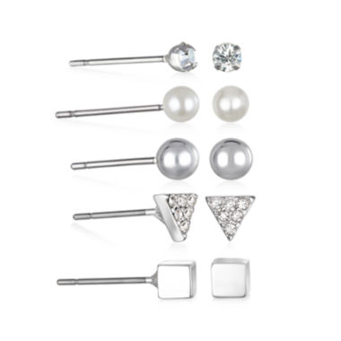 jcpenney.com | Mixit™ 5-pr. Silver-Tone Stud Earrings