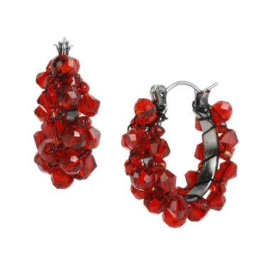 jcpenney.com | Mixit™ Red Faceted Bead Hoop Earrings