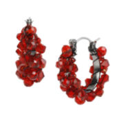 Mixit™ Red Faceted Bead Hoop Earrings