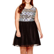 Love Reigns Sleeveless Sequin Skater Dress - Juniors Plus