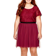 Speechless® Cap-Sleeve Elastic-Waist Lace Dress - Plus