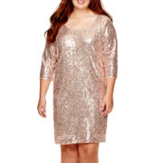My Michelle® 3/4-Sleeve Sequin Dress - Plus