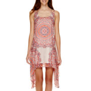 Trixxi® Sleeveless 3-Strap Print Hanky-Hem Dress