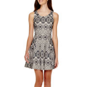 My Michelle® Sleeveless Bonded Lace Fit-and-Flare Dress