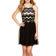 by&by Sleeveless Zigzag Sequin-Bodice Dress