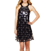 City Triangles® Sleeveless Sequin Halter-Neck A-Line Dress
