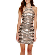 City Triangles® Sleeveless Zigzag Sequin Halter-Neck Dress