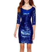 My Michelle® 3/4-Sleeve Sequin Dress - Juniors