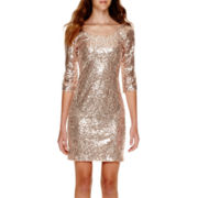 My Michelle® 3/4-Sleeve Sequin Dress