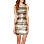 Love Reigns Sleeveless Aztec Sequin Cutout-Back Dress