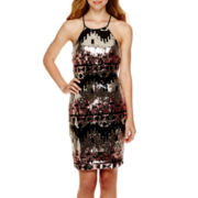 My Michelle® Sleeveless Aztec Sequin Halter Dress